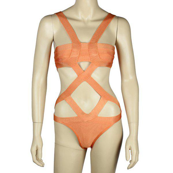 Sale Sexy Solid Color Cut Out One-Piece Women's Bandage Swimwear