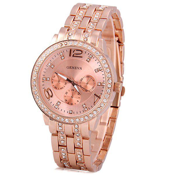 Shop GENEVA Quartz Watch with Diamonds Round Dial and Steel Watch Band for Women