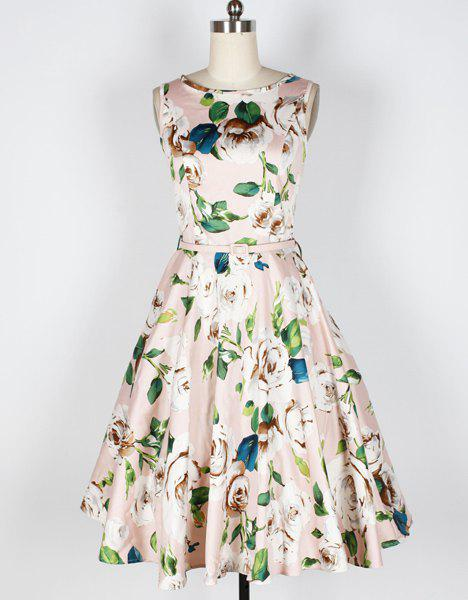 Fancy Vintage Floral Print Boat Neck Sleeveless Mid-Calf Women's Pleated Dress With Belt
