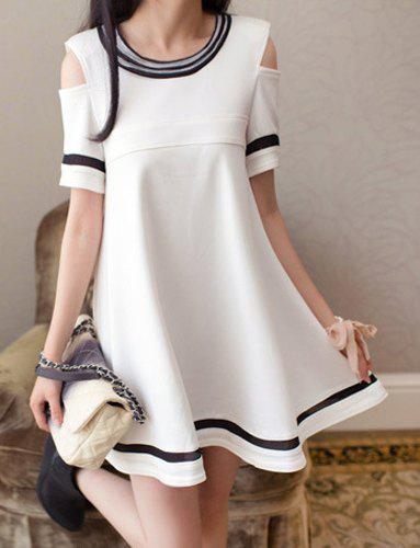 Cheap Stylish Scoop Collar Short Sleeve Voile Splicing Off-The-Shoulder Women's Dress