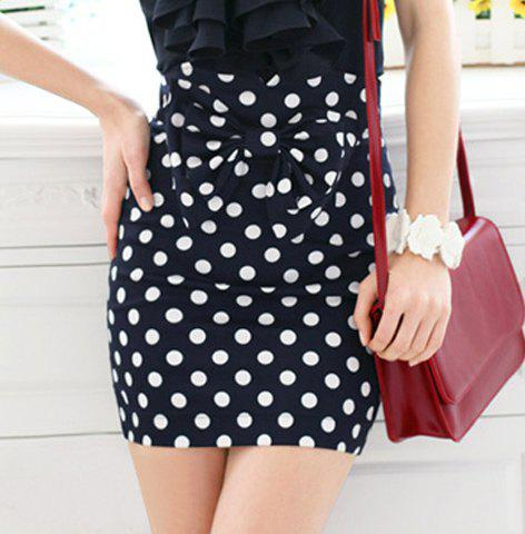 Chic Vintage Dotted Print Bow Embellished High Waist Women's Pencil Skirt