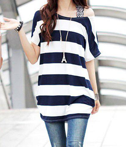 Hot Stylish Scoop Neck Striped Short Sleeve T-Shirt For Women