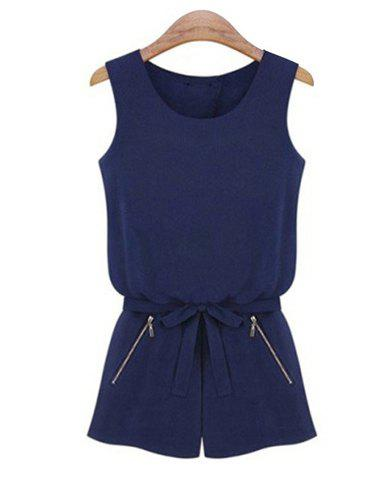 Shop Simple Style Sleeveless Solid Color Zipper Embellished Women's Jumpsuit