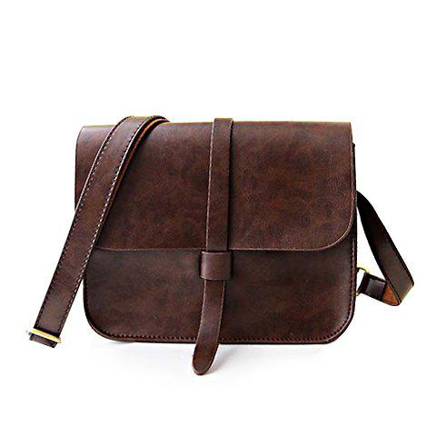 Best Vintage Style Solid Color and PU Leather Design Women's Crossbody Bag