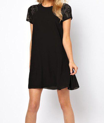 Store Stylish Round Neck Lace Splicing Hollow Out Short Sleeve Chiffon Dress For Women