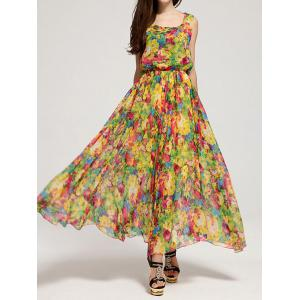 Bohemian Floral Chiffon Maxi Beachwear Swing Dress - As The Picture - M