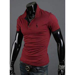 Fashion Style Turn-down Collar Slimming Solid Color Animal Print Short Sleeves Men's Polyester Polo Shirt -