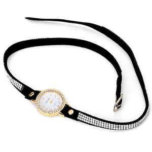 Superb Quartz Watch with Round Dial Diamonds Leather Watch Band for Women -