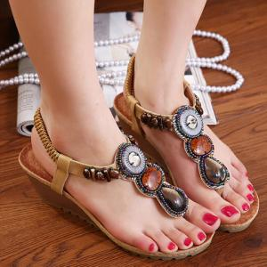 Bohemia Wedge and Beading Design Women's Sandals -