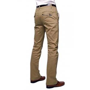 Casual Style Solid Color Zipper Fly Pocket Embellished Straight Leg Men's Cotton Long Pants - KHAKI 36