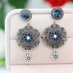 Fake Crystal Flower Drop Earrings -