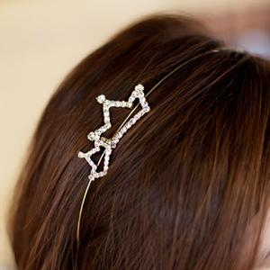 Simple Rhinestoned Openwork Crown Shape Hairband For Women - SILVER WHITE