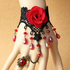 Beads Tassel Flower Bracelet with Ring - As The Picture - One Size