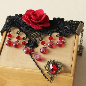 Beads Tassel Flower Bracelet with Ring - AS THE PICTURE