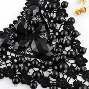 Statement Beads Decorated Openwork Lace Pendant Necklace - AS THE PICTURE