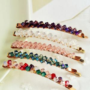 One Piece of Chic Rhinestone Colored Hairpin For Women - Color Assorted - S