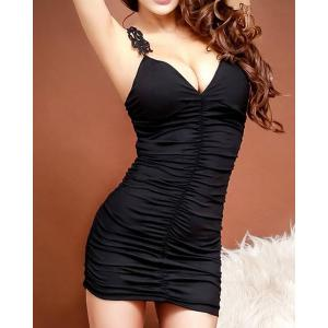 Sleeveless V-Neck Lace Splicing Black Color Women's Dress