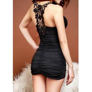 Sleeveless V-Neck Lace Splicing Black Color Women's Dress - BLACK ONE SIZE
