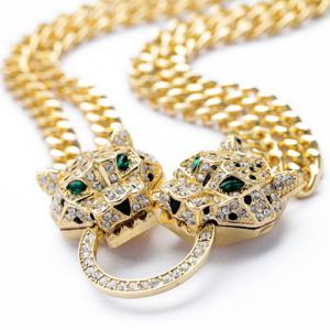 Exquisite Diamante Leopard Head Pendant Double-Layer Necklace For Women -