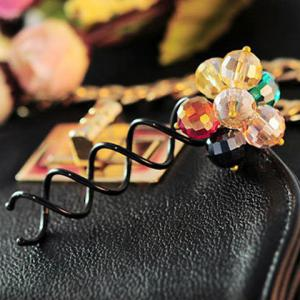 Sweet Colored Rhinestone Flower Hairpin For Women -