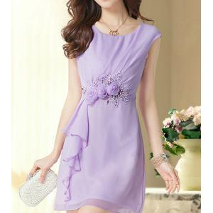 Elegant Scoop Neck Flower Embellished Ruffled Sleeveless Chiffon Dress For Women - Violet - L