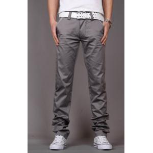 Fashion Style Zipper Fly Solid Color Slimming Houndstooth Embellished Pocket Narrow Feet Men's Cotton Pants