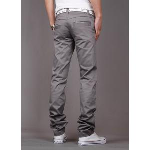 Fashion Style Zipper Fly Solid Color Slimming Houndstooth Embellished Pocket Narrow Feet Men's Cotton Pants - GRAY 33