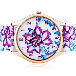 Genuine Quartz Watch with Chinese Flower Pattern Analog Indicate and Leather Watchband for Women -