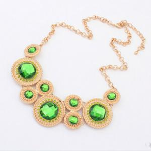 Retro Rhinestone Decorated Round Pendant Necklace For Women - COLOR ASSORTED