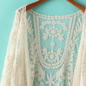 Stylish Lace Crochet Flower See-Through Long Sleeve Women's Blouse -