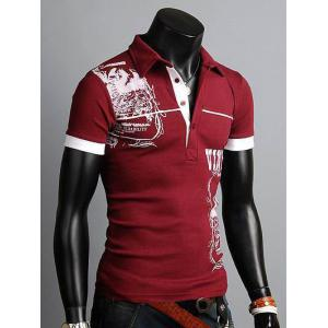 Turn-down Collar Totem Print Polo Shirt -