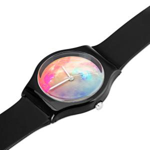 Stylish Quartz Watch Oil Painting Pattern Analog Indicate Rubber Watch Band for Women - BLACK