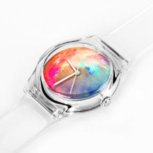Stylish Quartz Watch Oil Painting Pattern Analog Indicate Rubber Watch Band for Women - TRANSPARENT