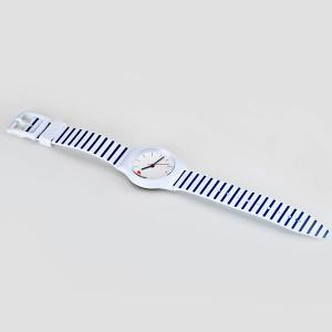 Stylish Quartz Watch Stripe Pattern Analog Indicate Rubber Watch Band for Women -