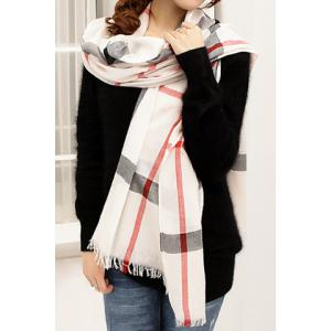 Stylish Plaid Decorated Scarf For Women