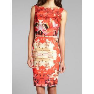 Summery Printed Square Neck Sleeveless Knee-Length Women's Bodycon Dress