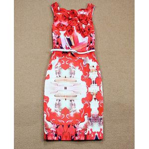 Summery Printed Square Neck Sleeveless Knee-Length Women's Bodycon Dress -