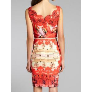 Summery Printed Square Neck Sleeveless Knee-Length Women's Bodycon Dress - RED S
