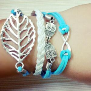 Leaf Owl Infinity Layered Bracelet - AS THE PICTURE