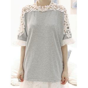 Stylish Jewel Neck Guipure Flared Sleeve Bow Embellished T-Shirt For Women - Gray - One Size