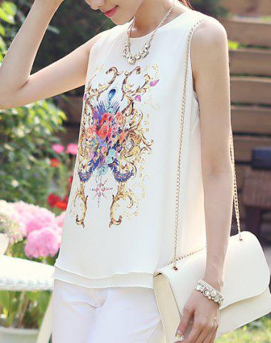 Fashion Grace Scoop Neck Printed Women's Tank Top - M AS THE PICTURE Mobile