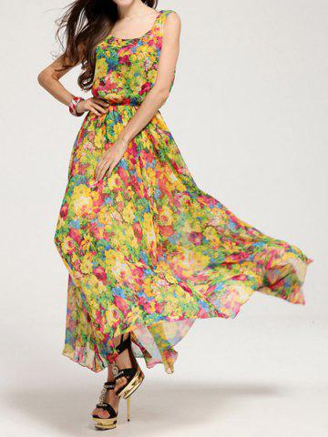 Outfit Bohemian Floral Chiffon Maxi Beachwear Swing Dress - M AS THE PICTURE Mobile