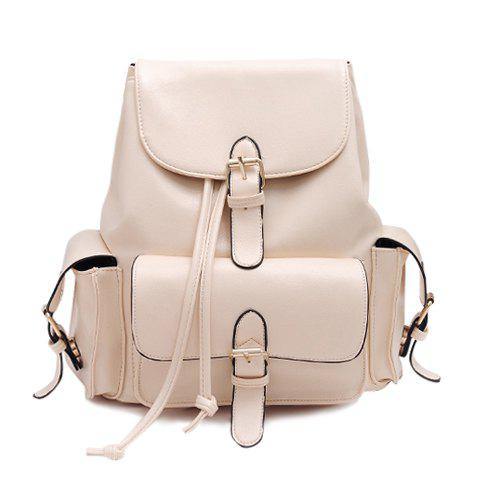 Latest Preppy Solid Color and Buckle Design Women's Satchel