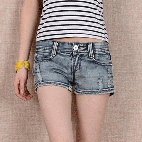 Outfit Stylish Destroy Wash Straight-Leg Women's Denim Shorts