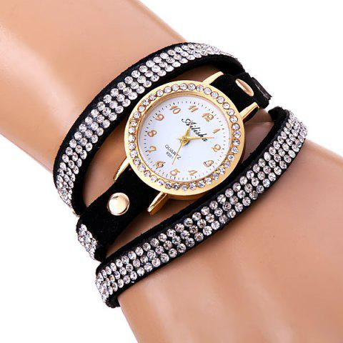 Outfits Superb Quartz Watch with Round Dial Diamonds Leather Watch Band for Women