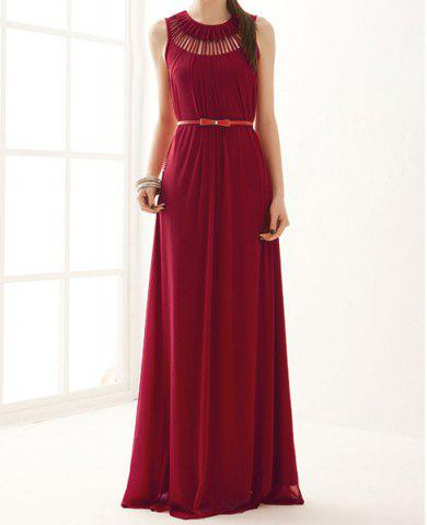 Affordable Stunning Sleeveless Swing Maxi Formal Wedding Dress - ONE SIZE RED Mobile
