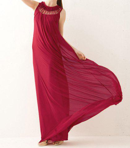 Best Stunning Sleeveless Swing Maxi Formal Wedding Dress - ONE SIZE RED Mobile