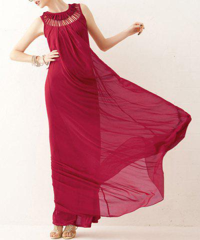 Hot Stunning Sleeveless Swing Maxi Formal Wedding Dress - ONE SIZE RED Mobile