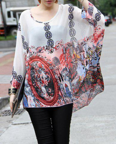 Store Loose-Fitting Printed Scoop Neck Women's Chiffon Blouse