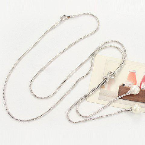 Latest Fashion Pearl Pendant Sweater Chain Necklace For Women